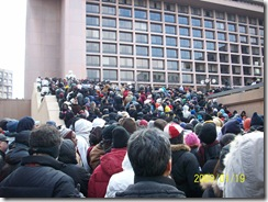 Amazing mass of people waiting to get into L'Enfant Plaza metro station